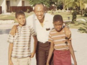 The Friendly Encounter: Siny (left) and Joe with Jesse Owens.